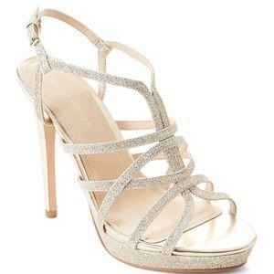 Mark Fisher Gold Jaslyn Glitter Strappy Sandals